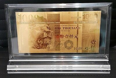 Hong Kong 2003 24K Gold HSBC Bank HK$1,000.- Acrylic Block with Gift Box