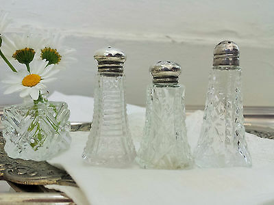 Vintage Set of 3 Small Mix & Match Sterling Lid Crystal Salt Shakers