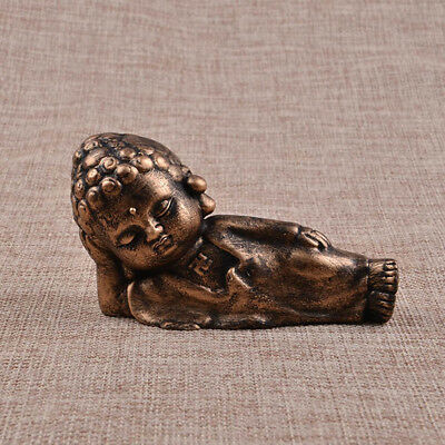 Little Monk Resting Buddha Statue Holder Engraved Hand Painted Decor -Copper