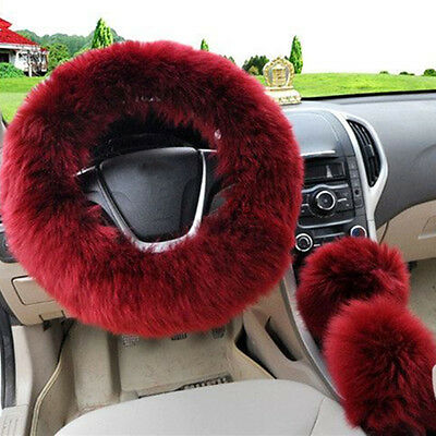 3Pcs Auto Soft Long Plush Fluffy Wool Warm Car Steering Wheel Cover Protector
