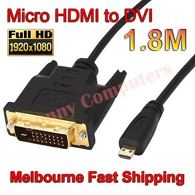 100% New 5FT Micro HDMI Male to DVI Male Adapter Cable Gold Plated DVI-D M-M EVO