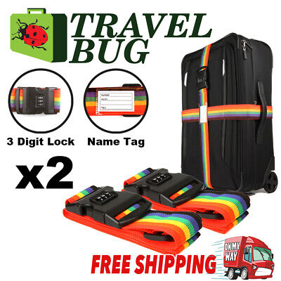 2x Password Travel Luggage Suitcase Secure Lock Safe Nylon Packing Belt Strap