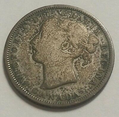 1858 Canada Twenty Cents 20C Silver Coin Free Shipping!