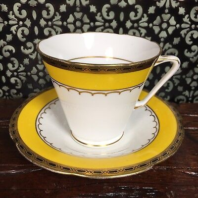 Cheerful Art Deco Yellow And Gold A.B.J. Grafton Tea Cup And Saucer Set As Is