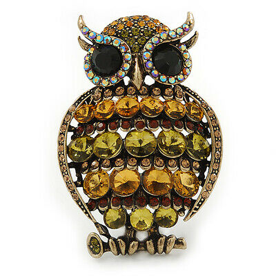 Large Vintage Inspired Crystal Owl Brooch/ Pendant In Bronze Tone (Olive, Citrin
