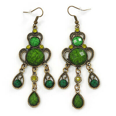 Victorian Style Green/ Olive Acrylic Bead Chandelier Earrings In Antique Gold To