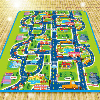 Infant Baby Kids Crawling Car City Traffic Game Floor Play Mat Rug Carpet Toy
