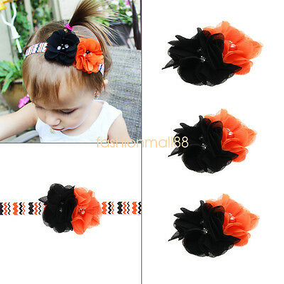 Halloween Flower Rhinestone Headband Elastic Hair Band For Baby Girls Kid Infant