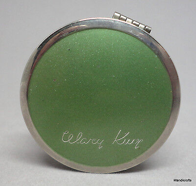 Mary King Rouge Compact JR Watkins c1930s Green Enamel Art Deco Puff Full Vtg