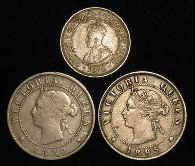 3 Coins from Jamaica.  1880-1916.   No Reserve!!