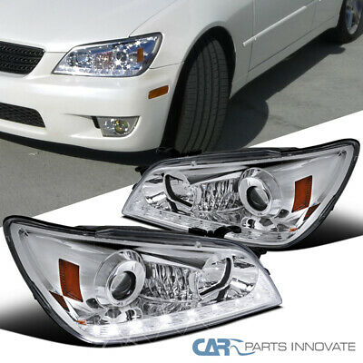 Fit 01-05 Lexus IS300 Clear Integrated LED+Signal Strip Projector Headlights