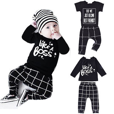 Newborn Toddler Infant Baby Boy Clothes T-shirt Tops + Pants Outfits Set 2PCS