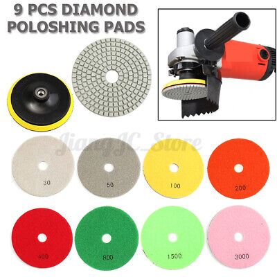 🇦🇺 9Pcs/Set 5'' Diamond Polishing Pads Wet/Dry Granite Marble Stone+Backer Pad