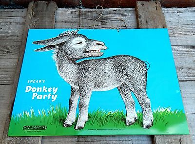 Vintage Metal Pin The Tail on The Donkey Magnetic Board Spears Made in England