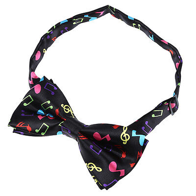 Stylish Black Bottom with Colorful Musical Note Design Bow Tie For Men T8