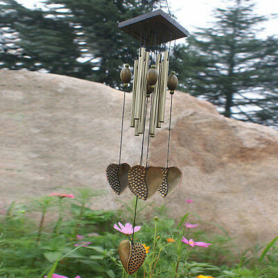 Windchimes Wind Chime Copper Tubes Hanging Ornament Garden Home Heart Decor Gift
