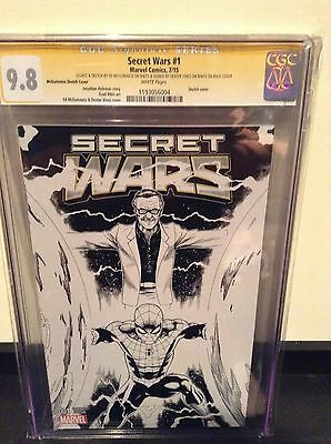 Secret Wars #1 Sketch cover variant CGC 9.8 SS Vines,McGuinness plus sketch