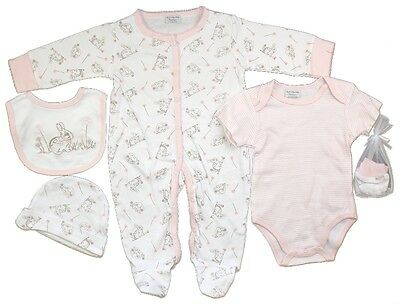 5 Piece Baby Girls Rabbit Layette Clothing Gift Set Outfit by Rock A Bye Baby