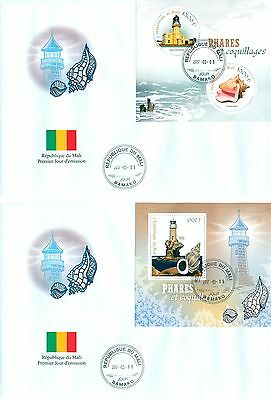 Lighthouses Shells Mali FDC first day cover set 2 covers