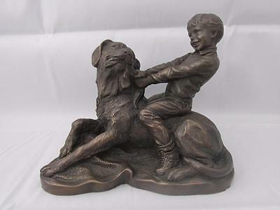 Heredities Cold Cast Bronze Figure Tommy And Jess Best of Friends Signed A Wynne