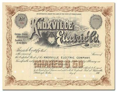 Knoxville Electric Company Stock Certificate