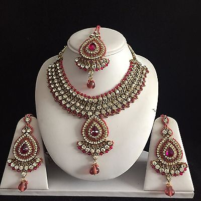 Pink Gold Indian Costume Jewellery Necklace Earrings Crystal Set Bridal New Gift
