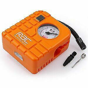 RAC 12V Car Motor Compact Air Compressor Mini Tyre Inflator Pump Pressure Gauge