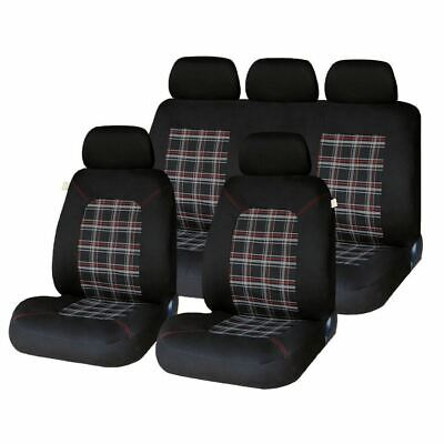 Universal Lambeth Car Washable Checked Seat Cover Full Set Front Rear Protection