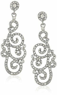 Bridal Wedding Crystal Rhinestone Swirl Vintage Dangle Earrings Silver Clear