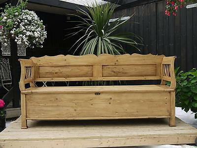 Stunning Old Antique Victorian Pine Hungarian/monks Box Bench/settle/pew/storage