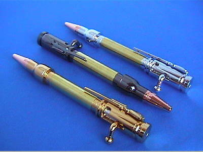 Woodturning Pen Kits MINI PEN Bolt Action Bullet Gold/Chrome/Gun Metal/or Bushes