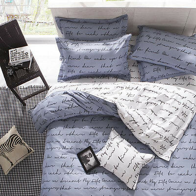 Love Letter Single Double Pillow Cases Duvet Quilt Bedding Cover Queen King Set