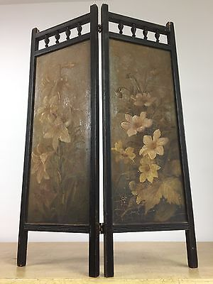 Antique Victorian Hand painted Fire Screen