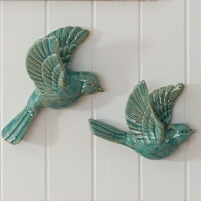 S/2 Flying Wall Birds Hanging Retro Vintage Style Ornament Birds Ceramic Blue