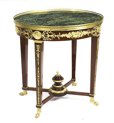 "French Empire Revival  ""Verde Antico"" Green  Marble Top Occasional Centre Table"