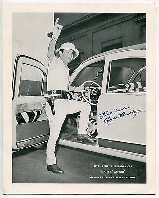 "Vintage Large Promo Photo Card: CLYDE BEATTY'S PERSONAL CAR - KAISER ""SAFARI"""