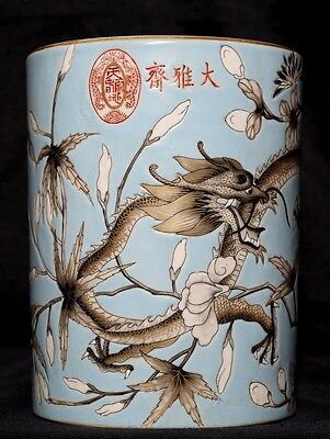 Rare Chinese Antique Hand Painting Porcelain Brush Pot Collectible Mark FA309
