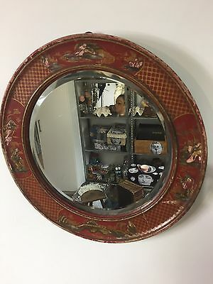 Stunning Chinese Oriental Hand Painted Red & Gold round mirror - 19th century