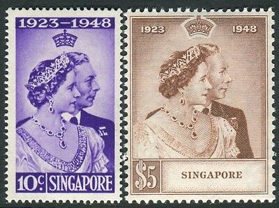 SINGAPORE-1948 Royal Silver Wedding.  An unmounted mint set Sg 31-32