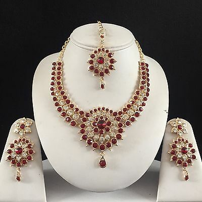 Maroon Gold Indian Costume Jewellery Necklace Earrings Diamond Set Bridal New