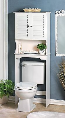 Tall Spacesaving Over Toilet White Wood Storage Cabinet Shelf & Double Doors NIB