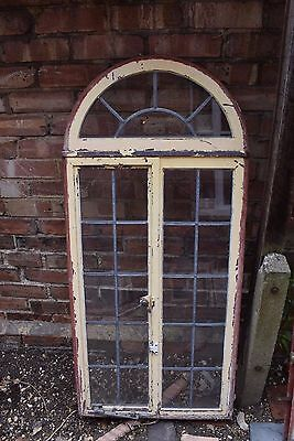 STUNNING ANTIQUE RECLAIMED GEORGIAN CRITTALL LEAD GLASS ARCH WINDOW victorian
