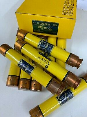 LOT of 10 COOPER BUSSMANN LOW-PEAK FUSES LPS-RK-20 NEW 600VAC/300VDC
