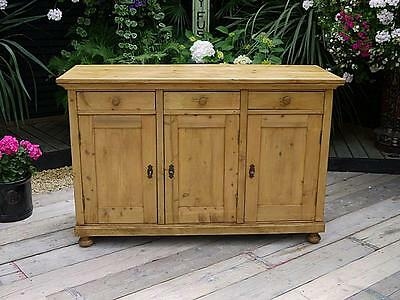 Stunning! Large Old Antique Waxed Pine Dresser Base/sideboard/cupboard/cabinet