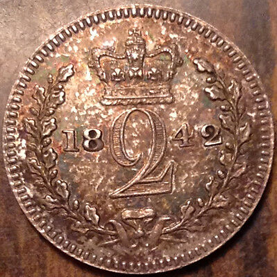 1842 Gb Uk Great Britain Maundy Silver Twopence In High Grade !