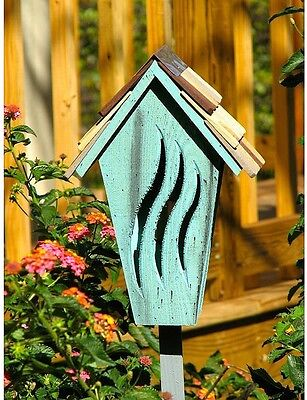 """Wooden Butterfly House, Handmade, Painted w/30"""" Stake, 8.5"""" L X 6"""" W X 12.75"""" H"""""""