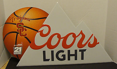 """Coors Light Basketball Usc Trojans 28"""" X 15"""" Embossed Metal Sign New"""
