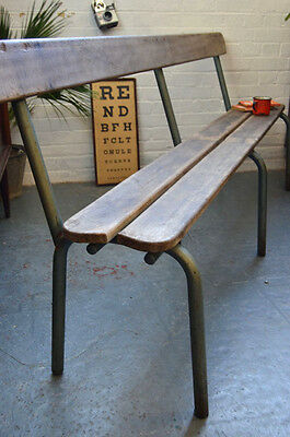 Vintage Mid Century French Wood + Metal Stacking School Bench Chair