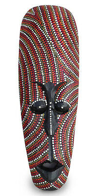 Dot Painted Aboriginal Style Mask, Hand Painted Wood 50cm tall wall hanging,red