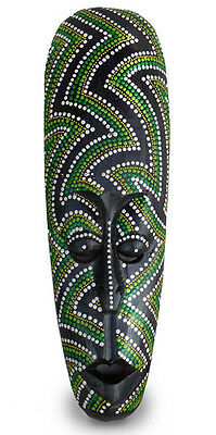 Dot Painted Aboriginal Style Mask, Hand Painted Wood 50cm tall wall hanging